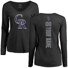Colorado Rockies Women's Personalized Backer Slim Fit Long Sleeve T-Shirt - Black