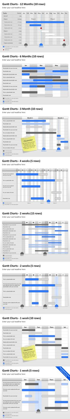 #PowerPoint #Gantt Charts to plan weeks, months, and years in #business.