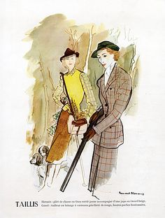 Hermès (Couture) 1947 Creed, Huntress, Bernard Blossac, Fashion Illustration