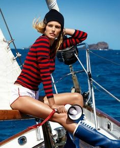 NAUTICAL FASHION Yacht Fashion, Edita Vilkeviciute, Nautical Fashion, Vogue Paris, Baby Strollers, Sailing, Monster Trucks, Boat, Style