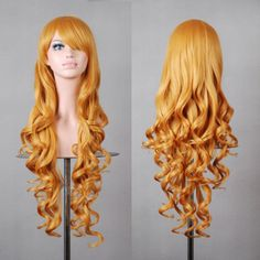 New Fashion Women's Wigs Multi-Color Curly Anime Cosplay Party Costume Hair Wig Long Hair Wigs, Curly Wigs, Long Curly Hair, Wavy Hair, Curly Hair Styles, Short Afro, Short Wigs, Wig Hairstyles, Straight Hairstyles