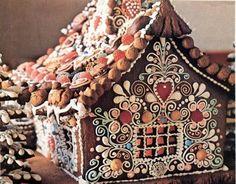 #Gingerbread #GingerbreadHouse #Baking Nätisti yhdistetty karkkeja pursotuksiin