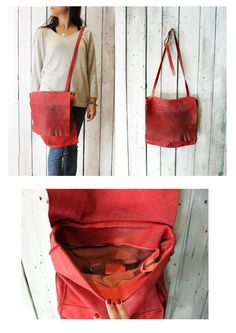 BASIC BAG 3, Handmade vintage Italian Leather Tote\messanger  Bag di LaSellerieLimited su Etsy