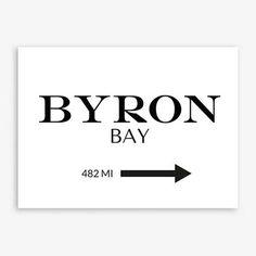 Byron Bay Beach Print Typography Print Ocean Print Beach