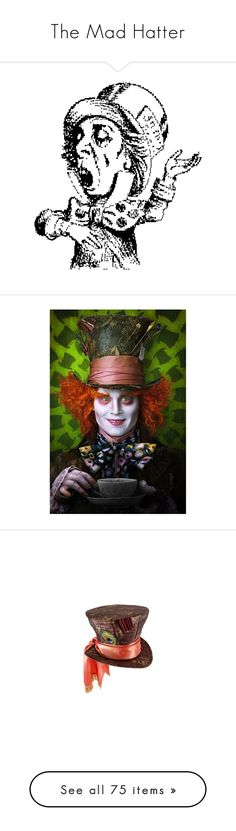 """The Mad Hatter"" by shannen-legere-lavigne ❤ liked on Polyvore featuring alice in wonderland, mad hatter, backgrounds, johnny depp, hats, accessories, costumes, miniature hats, green top hat and hair fascinators"