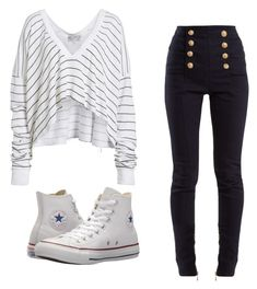 """Ahem"" by denisesheldon on Polyvore featuring Wildfox, Balmain and Converse"