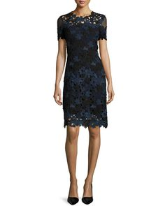 "Elie Tahari ""Ophelia"" floral lace dress. Approx. length: 37""L down center back. Jewel neckline. Short mesh sleeves. Sheath silhouette. Back zip. Polyester. Dry clean. Imported."