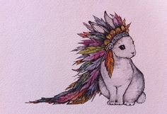 Watercolor/Ink-Realism-Animal-Bunny with by MakeNiceDesignCo