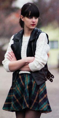 plaid skirt + chunky pullover