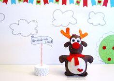 Ready To Ship Reindeer Ornament Felt Creature Handmade by Feltos
