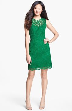 Alexia Admor Back Bow Detail Lace Sheath Dress
