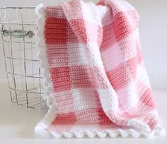 Crochet Pink Gingham Blanket Pattern By Daisy Farm Crafts Crochet Afghans, Crochet Baby Blanket Beginner, Crochet Blanket Patterns, Crochet Stitches, Crochet Blankets, Baby Afghans, Free Baby Blanket Patterns, Beginner Crochet, Crochet Edgings