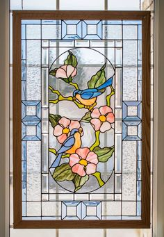 Blue Birds in Spring Modified pattern by Terra Parma 24 inches by 40 inches Stained Glass Birds, Stained Glass Projects, Stained Glass Patterns, Fused Glass, Glass Etching, Etched Glass, Artist Gallery, Mosaic Glass, Colored Glass