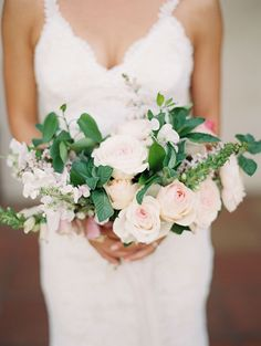 Blush and White Bouquet with Garden Roses | Brides.com