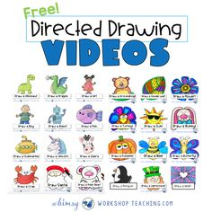 Choose any of these directed drawing videos to play for your students. Just click PLAY and they can draw along with the video instructions! Learning Activities, Kids Learning, Learning Shapes, Learning Spanish, Directed Drawing, Classroom Fun, Google Classroom, Teaching Art, Teaching Technology