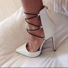 White Point Toed Heels with Black Straps