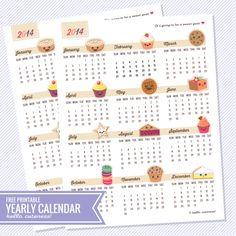 {Free Printable} Year-at-a-glance Calendar 2014