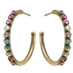 Michal Negrin Lovely Hoop Earrings with Multicolor Swarovski Crystals