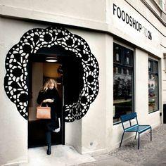 Foodshop no. 26 copenhagen, denmark beauty, spa, zen etc shop facade, shop fronts Design Shop, Shop Front Design, Cafe Design, Store Design, Design Commercial, Commercial Interiors, Deco Restaurant, Restaurant Design, Restaurant Facade