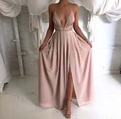 $200 Natalier Wrap Round V-Neck Low Plunge Slit Pale Dusty Blush Pink Maxi Dress Prom Bridesmaid Inspiration