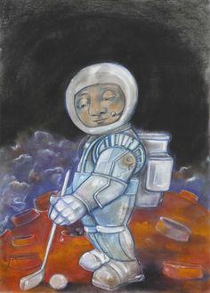 """Saša Hudecová, pastel na papieri """"Moon GOLF"""". Cena 150€. Kúpite v našej predajnej galérii Magis Art v Bratislave. Viac na www.magis.sk"""
