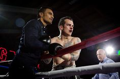 Clash of the Corporates Boxing Fight Night. Fellow Tauranga Boxer Gunna Jackson congratulates Taylor on his win.