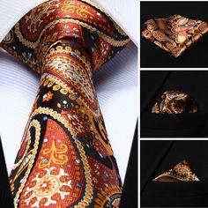"""Necktie - Orange Blue Paisley 3.4"""" Silk Necktie and Handkerchief Set @runit365 #tie #fashion #paisley"""