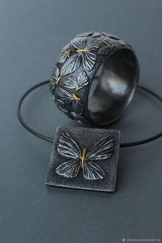 88662d485 A set of a pendant and a bracelet Night moths Silver Pendant Necklace