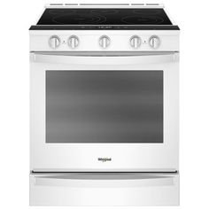 Smart Slide-In Electric Range with Self-Cleaning Convection Oven in . Four A Convection, Convection Cooking, Whirlpool Stove, Slide In Range, Self Cleaning Ovens, Large Oven, Glass Cooktop, Oven Racks, Tasty Dishes