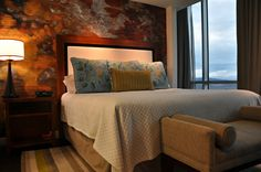 Penthouse Suites at the Hotel Indigo in Asheville. Floor-to-ceiling windows = great mountain views!
