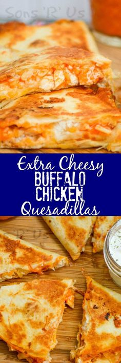 Your favorite wings just met your favorite ooey, gooey Tex Mex treat with these crispy Extra Cheesy Buffalo Chicken Quesadillas. It was destiny, and it is glorious. An extra cheesy, crisp quesadilla that features the bold flavor of buffalo chicken wings. I Love Food, Good Food, Yummy Food, Delicious Recipes, Comida Latina, Mexican Food Recipes, Tofu Recipes, Couscous Recipes, Tilapia Recipes