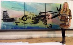 Check out this amazing private commission art piece by Austin artist Karen Salem of a P51WW Bomber.  LOVE IT.