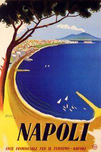 Vintage Italian travel poster - Napoli www.emporiumhanoi.com #vintage #travel #poster #art #retro #postcard #print #Hanoi #Vietnam