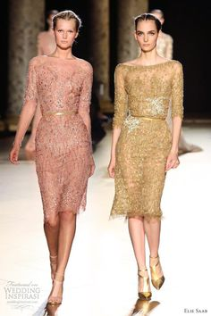 elie saab fall 2012 couture short beaded dresses sleeves
