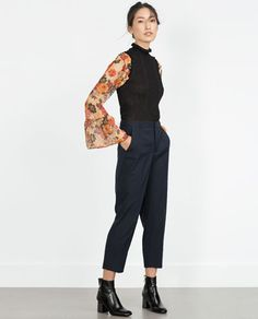 Image 1 of WIDE TURN-UP HEM TROUSERS from Zara