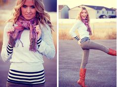Art Love the layered sweater and striped shirt. my-style Fall Outfits, Cute Outfits, Boot Outfits, Classy Outfits, Look Fashion, Womens Fashion, Fall Fashion, Vogue, Look At You