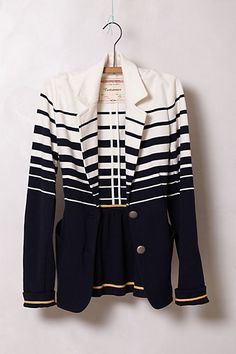 Striped Captain blazer - Anthropologie Best paired with green dress (IMO) Uk Fashion, White Fashion, Fashion News, Fashion Outfits, Cotton Blazer, Striped Blazer, Grunge, Girly, Jeans
