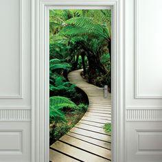 "Door sticker palm tree path mural decole film self-adhesive poster 30x79""(77x200 cm) /"