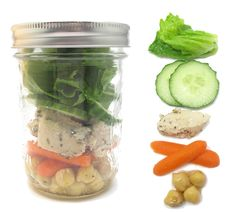 Mason Jar Meal. Would be great to premake a bunch and have an instant healthy snack to grab out of the fridge