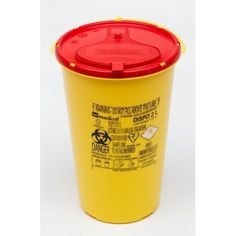 Larident. Disposable Yellow Container . Disposable yellow container for special waste and used needles.  Lid can not be reopened.