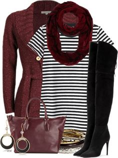 striped shirt dress with over the knee boots fall outfit bmodish 2014