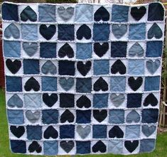 Denim patchwork Love and Kisses lap crib TV quilt