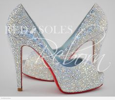 Louboutin Moonlight Hyper Prive strassed by Red Soles Reborn.