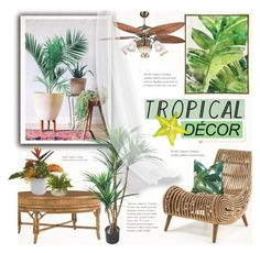 """Tropical Decor"" by alexandrazeres ❤ liked on Polyvore featuring interior, interiors, interior design, home, home decor, interior decorating, Barclay Butera, TradeMark, Nearly Natural and homedecor"