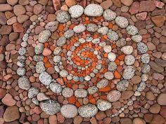 Beautiful Geometric Land Art Made of Rocks and Leaves