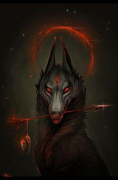 Wolf with Red Arrow