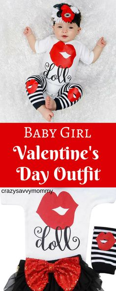 """SUPER CUTE Baby Girl Valentine's Day Outfit. White, Black, and Red Bodysuit with """"Doll"""" on it. Get the whole look with the matching tutu, leg warmers, and headband too! Click the link to buy it NOW at Etsy.com! #valentinesideas #valentinesdaydecor #valentinesdayideas #kidsfashion #winteroutfits #ad"""