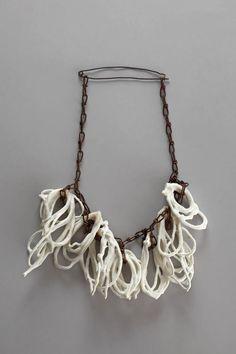 Hildur Ýr Jónsdóttir (I), necklace Knots, 2010, Herend porcelain, rusted iron chain, 310 x 210 x 40 mm -  http://cargocollective.com/hilduryr -  SPLENDID jewels !!