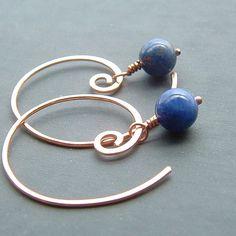 Hoop Earrings Denim Blue Sodalite Copper Open Hoops by ArtistiKat, $24.95