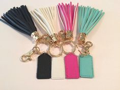 Add a little dazzle to your car keys so they are easy to find. These 5 keychains are able to do that. They come with a leather tassel that can be monogrammed. At checkout please choose color of monogram and put in notes to seller. Please include color of monogram. Please put initials